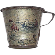"""Early Tin Lithographed """"Victorian Beach Scene"""" on a Child's Beach or Sand Cup !  Ca. 1890."""