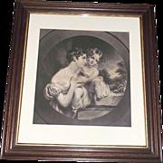 "Original ""Mother & Daughter"" Engraved Print in Walnut Frame with inside Gold Border !"