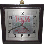 "Electric Gallery Wall Clock used as Advertiser for ""LEEDs Correct Glasses"" in Poughkeepsie,NY.  Ca. 1940."