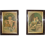 Pair Matching Victorian Frames with Original Chromolithograph Prints 10 inches Wide by 14 inches High !   Ca. 1880's