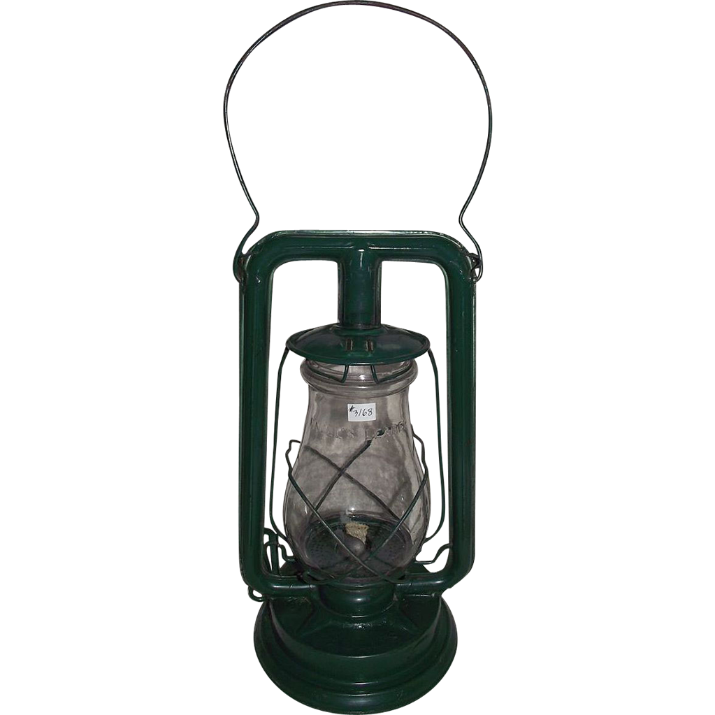 """""""Paull's Leader No. 0"""" Lantern with a Very Nice Green Enamel  Paint !"""