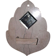"""REDUCED Wall mounted """"Comb Case & Mirror"""" in actual Cut Marble Leaf shaped  !!!"""