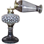 "Rare Hobbs ""White Snowflake"" Oil Lamp with P. & A. Flange Lip Burner & Pearl Top Chimney . Ca. 1890."
