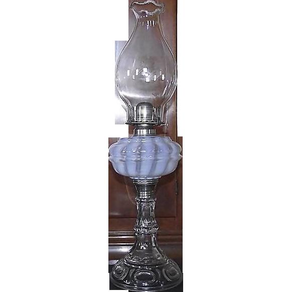 "Rare ""Nickel Plate Glass Company"" Opalescent White Banquet Oil Lamp #101  !!!  Ca. 1893."