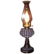 "Electrified Rare ""Nickel Plate Glass Company"" Opalescent White Stripes Oil Lamp  with Hairline Crack . Ca. 1893."