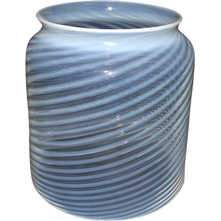 """Mint Blown Optic 5 inch Cylindrical Glass """"White Swirls"""" Hall Lamp Shade made with White Stripes & Blue tint over Clear Glass !  Ca. 1890."""