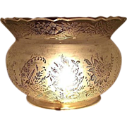 REDUCED Cut King's Crown Top on a 5 inch Blown Glass Shade with Bird, Roses, & Bellflowers