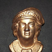 "Columbian Exposition period  Bust of  ""Christopher Columbus"" Cast Iron Match Holder"