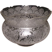 """Eastlake King's Crown Shade """"Fans & Flora"""" with a busy Acid Etched Flowers, Leaves and Vine Design !!! Circa 1900."""