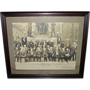 """The """"First Defenders""""  30 Civil War Veteran Group Photo, as seen in front of the Civil War Monument, on the Square, in  Allentown,Pa."""