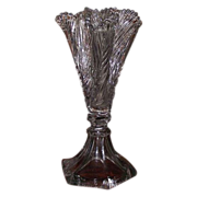 "REDUCED Rare Sandwich Glass ""Leaf Trefoil Flower Vase"" Pattern with Tapered Hexagon"