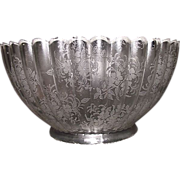 """Ribbed with Acid Etched """"Floral Decorations"""" Gas Shade with 4 inch Base Fitter. Ca. 1910."""