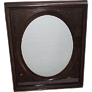REDUCED Victorian Solid Walnut Picture Frame with Gilded Incised Decorated Oval Insert ! Ca 18