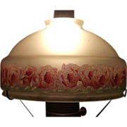 REDUCED Rose Border Frosted  10 inch Shade . Circa 1940.