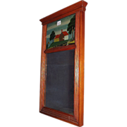 REDUCED Original Sheraton Mirror with a Cracked Reverse Painted Top Glass. Ca.1870.