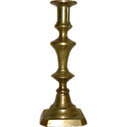 Civil War Period Brass Candlestick with Wire Candle Stub Remover Circa 1860 !