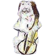 """Rare Ceramic Bisque """"Dog Playing Instrument"""" missing internal Whistle Ball or Reed. Ca. 1900."""