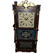 "REDUCED Pre-Civil War Period Eagle Top Triple Decker Clock with 8 Day ""Birge, Peck & Co."""