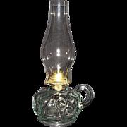 REDUCED Near Mint Finger Lamp with Zero N.O.S. Burner & Chimney !!!  WW-1 Period Ca. 1915.