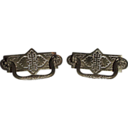 REDUCED Victorian Design pair of Solid Brass Drawer Pulls !! Ca. 1890