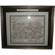 """Early """"Canals & Railroads Map"""" of Pennsylvania Printed Circa 1850-55 !!!"""