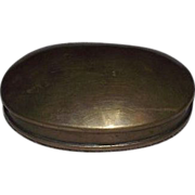 Solid Brass Oval Snuff Box !!! Circa 1860's to 1880's.