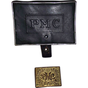 "REDUCED Pennsylvania Military College Cadet ""Belt Buckle & Ammo Pouch"" Circa 188"