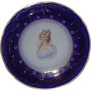 "Large 14 1/2  inch ""Royal LaBelle * Wheeling Potteries Co."" Portrait Charger in Great Condition Circa 1899 !!!"