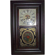"""REDUCED Rare Reverse Painted """"Tole Pattern"""" Glass on Seth Thomas Ogee Clock Ca. 1840"""