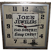 "REDUCED ""Joe's Jewelers"" Electric Advertising Clock ! Circa 1940's."