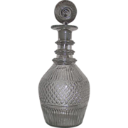 "Rare Museum Quality ""Diamond Quilted "" Center Banded Pattern Glass Decanter with Sunburst Stopper Circa 1822 to 1850's !!!"