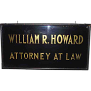 """Gold Leaf & Reverse Painted Glass Trade Sign """"William R. Howard * Attorney At Law"""" in Original Antique Copper Frame Circa 1900 !!!"""