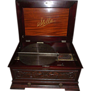 REDUCED Large Stella 17 inch Music Disc Player with Carved Mahogany Front & Pull Out Disc
