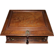 "REDUCED Symphonion #25 Music Disc Player with ""Birds in Tree Branches Inlaid Walnut Top &"