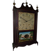 "REDUCED Authentic ""Eli Terry & Sons Pillar & Scroll Clock"" with Original Mahogany Fi"