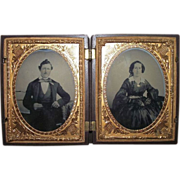 REDUCED Rare Double Civil War Period Young Patriotic Couple Daguerreotypes in a Thermoplastic