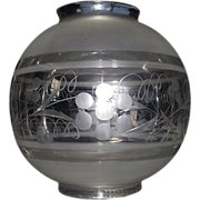 "REDUCED Engraved with Frosted Bands ""Hall Lamp Ball Shade"" with 4 1/4 inch Top & Bot"