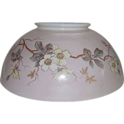 "Antique 14 inch Blown Glass Library Lamp Shade with Original Factory Stenciled and Artist Colored ""Dogwood Tree Blossom"" Decorations with overall Pink background shading !!!"