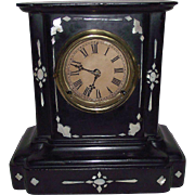 REDUCED Mother of Pearl inlayed Cast Iron Clock Dated 1857 with Time & Hourly Strike !!!