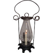 "REDUCED Primitive ""Candle Lantern"" with Cast Iron Base & Removable Glass Chimney !!!"