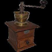 "Belgian Coffee Grinder marked ""En Acier Forge"" with Brass Funnel Top Circa 1900."