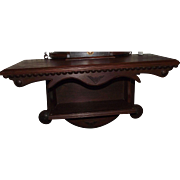 Solid Walnut Clock Shelf with Carved Medallions and lower Display Shelf Circa 1880 !!!