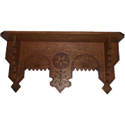 "Solid Oak ""Eastlake Wall Shelf"" with Carved ""Tree & Geometric Stars"" Circa"