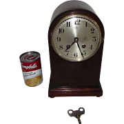 "Small Mahogany Arched 8 Day Mantle Clock made by ""Hamburg American Clock Co."" with T"