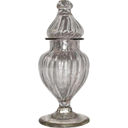 "Rare Miniature Blown ""Pillar Molded"" Pattern Show Jar with Perfect Lid for an Apothecary or Drug Store Circa 1870 !!!"