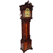 Grandmother/Dwarf Chippendale Clock in Flame Mahogany Case with Bench Made Brass Movement and
