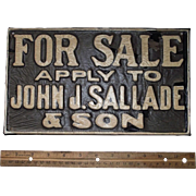 """Vintage """"For Sale * apply to John F. Sallade & Son"""" Porcelain Metal Sign from a Reading,Pa. Real Estate Agent Circa 1920 -30's !!! N.O.S."""