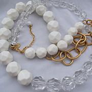 Designer Yosca Acrylic Bead & Chain Necklace