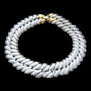 Napier White Enameled Chain Necklace