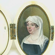 18th c. Woman in White Headdress - Miniature in Case